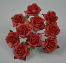 1.5cm CORAL with RED CENTER Mulberry Paper Roses